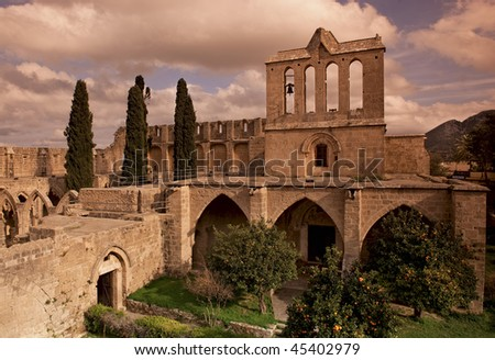 Bellapais Abbey in Northern Cyprus - stock photo
