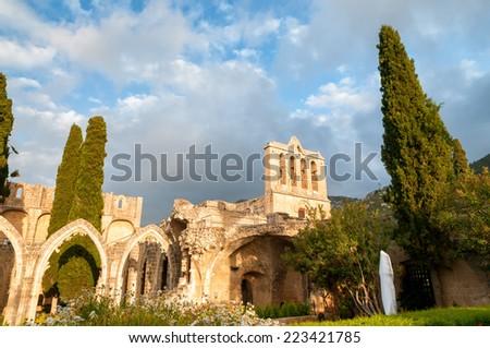 Bellapais, medieval Abbey near Kyrenia, Cyprus. - stock photo