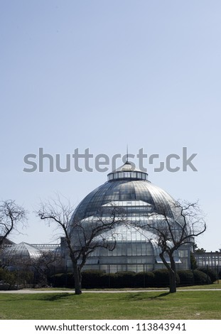 Belle Isle Conservatory on Belle Isle in Detroit Michigan on a spring morning. - stock photo