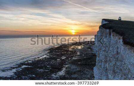 Belle Tout Lighthouse at Beachy Head, East Sussex, at sunset - stock photo