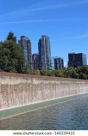 Bellevue Washington Downtown Park with Skyscrapers - stock photo