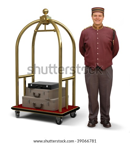Bellhop in retro uniform and luggage cart on a white background with clipping path on bellman - stock photo