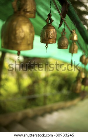 Bells outside the buddhist temple - stock photo