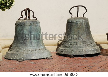 Bells outside the Monterrey, Nuevo Leon, Mexico cathedral - stock photo