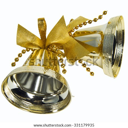 Bells with Christmas decoration isolated  - stock photo