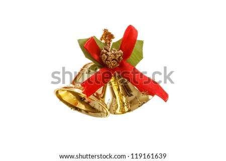 Bells with Christmas decoration on white background - stock photo