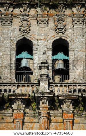 belltower and temple bells in santiago de compostela, galicia, spain - stock photo
