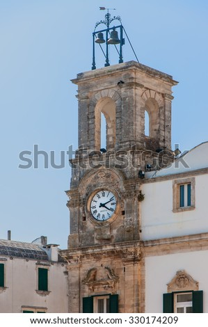 Belltower in Martina Franca, Puglia, Italy.