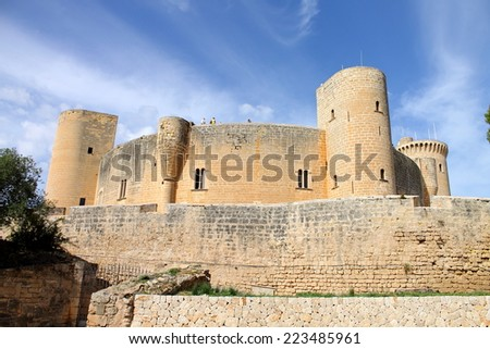 Bellver Castle, a Gothic style circular castle on a hill 3 km northwest of Palma on the Island of Majorca, Spain. - stock photo