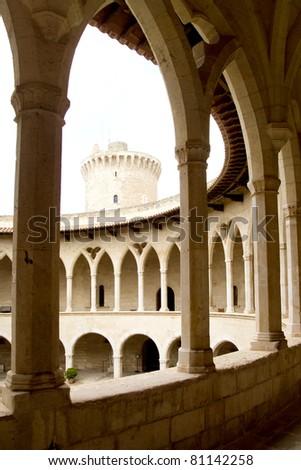 Bellver Castle Castillo cloister corridor in Majorca at Palma de Mallorca Balearic Islands - stock photo