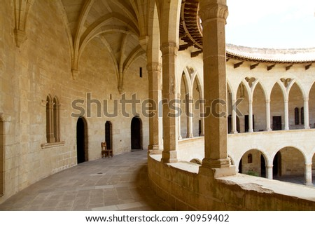 Bellver Castle Castillo cloister corridor in Majorca at Palma de Mallorca Balearic Islands - stock photo