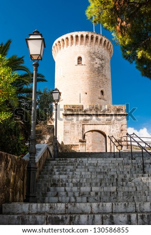 Bellver Castle, Castillo tower, in Majorca at Palma de Mallorca Balearic Islands - stock photo