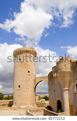 Bellver Castle Castillo tower in Majorca at Palma de Mallorca Balearic Islands - stock photo