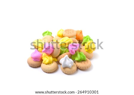 Belly button iced gem biscuits on white background - stock photo