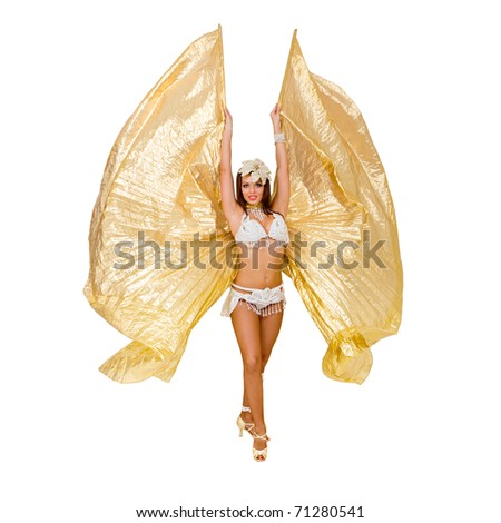 Belly dancer. Attractive woman wearing a exotic dress  posing against isolated white background - stock photo