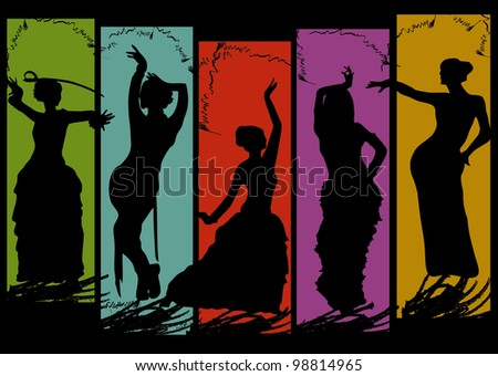 belly dancing black woman silhouette on color background - stock photo