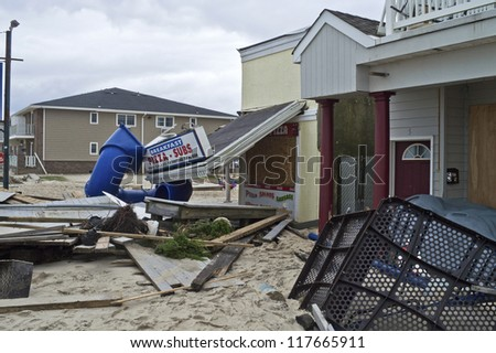 BELMAR, NEW JERSEY/USA -Â?Â? OCTOBER 30: Damaged store fronts along Ocean Ave the day after Hurricane Sandy on October 30, 2012 in Belmar New Jersey. - stock photo
