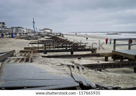 BELMAR, NEW JERSEY/USA -Â?Â? OCTOBER 30: The damaged boardwalk along the beach the day after Hurricane Sandy on October 30, 2012 in Belmar New Jersey. - stock photo