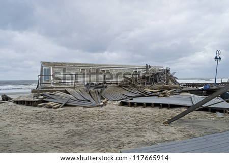 BELMAR, NEW JERSEY/USA -Â?Â? OCTOBER 30: The Devastation along the beach the day after Hurricane Sandy on October 30, 2012 in Belmar New Jersey.