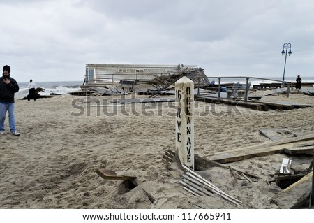 BELMAR, NEW JERSEY/USA -Â?Â? OCTOBER 30: The Devastation along the beach the day after Hurricane Sandy on October 30, 2012 in Belmar New Jersey. - stock photo
