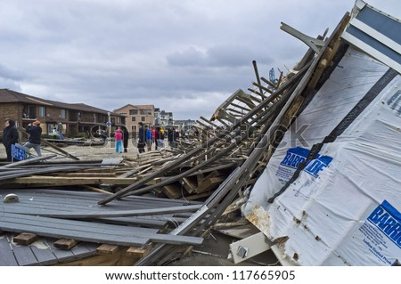 BELMAR, NEW JERSEY/USA-OCTOBER 30: The Devastation along the beach the day after Hurricane Sandy on October 30, 2012 in Belmar New Jersey. - stock photo