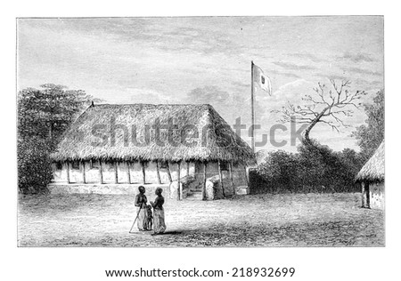 Belmonte House in Angola in Southern Africa, engraving based on the English edition, vintage illustration. Le Tour du Monde, Travel Journal, 1881 - stock photo