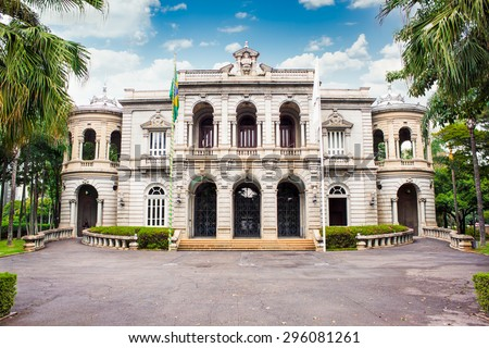 BELO HORIZONTE , BRAZIL-APRIL 22, 2015: Palace of Liberty , building which was for several years the office of the government of Minas Gerais state in the city of Belo Horizonte, Brazil. - stock photo