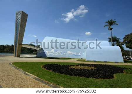 BELO HORIZONTE, BRAZIL - JULY 22:  An exterior of the church of Sao Francisco de Assis is shown July 22, 2005 in Belo Horizonte. Built by Oscar Niemeyer it is also known as the Church of Pampulha. - stock photo