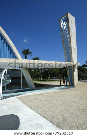 BELO HORIZONTE, BRAZIL - JULY 22: An exterior view of the church of Sao Francisco de Assis is shown July 22, 2005 in Belo Horizonte. Built by Oscar Niemeyer it is also known as the Church of Pampulha. - stock photo