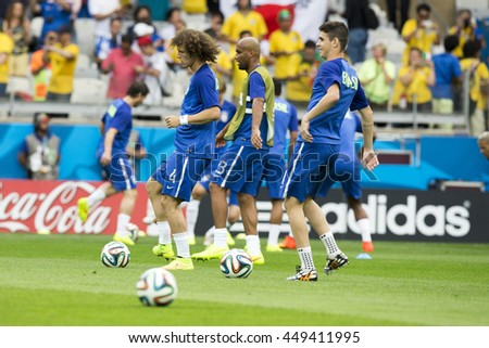 Belo Horizonte, Brazil - july 08, 2014: DAVID LUIZ of Brasil during the FIFA 2014 World Cup. Brazil is facing Germany in the semi-finals at Mineirao Stadium