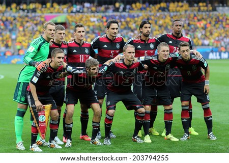 BELO HORIZONTE, BRAZIL - July 8, 2014: German team posing for a photo during the 2014 World Cup Semi-finals game between Brazil and Germany at Mineirao Stadium. NO USE IN BRAZIL. - stock photo