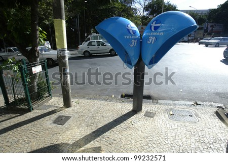 BELO HORIZONTE, BRAZIL - JULY 25:  Modern public telephones are shown July 25, 2005 in Belo Horizonte, Brazil. - stock photo