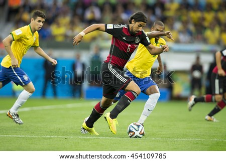 Belo Horizonte, Brazil - july 08, 2014: Sami KHEDIRA during the FIFA 2014 World Cup. Brazil is facing Germany in the semi-finals at Mineirao Stadium