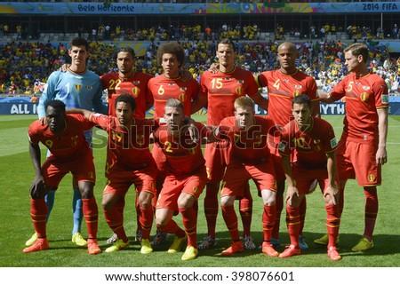 BELO HORIZONTE, BRAZIL - June 17, 2014:  Belgium Team during the World Cup Group H game between Belgium and Algeria at Mineirao Stadium. - stock photo