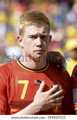 BELO HORIZONTE, BRAZIL - June 17, 2014: KEVIN DE BRUYNE OF BELGIUM, during the national anthem at the 2014 World Cup Group H game between Belgium and Algeria at Mineirao Stadium. - stock photo