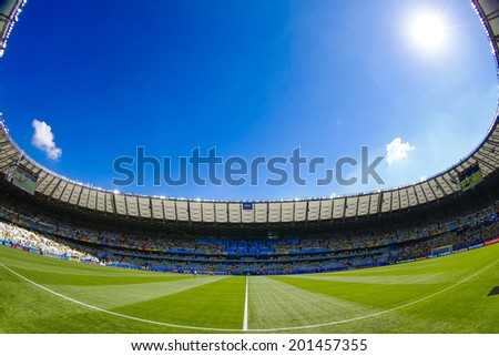 BELO HORIZONTE, BRAZIL - June 28, 2014: Mineirao Stadium before the 2014 World Cup Round of 16 game between Brazil and Chile. No Use in Brazil. - stock photo