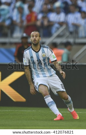 Belo Horizonte, Brazil - June 21, 2014: Rodrigo PALACIO of Argentina during the FIFA 2014 World Cup. Argentina is facing Iran in the Group F at Minerao Stadium