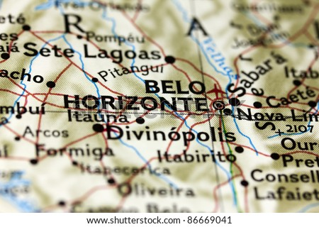Belo Horizonte in Brazil on the Map. - stock photo