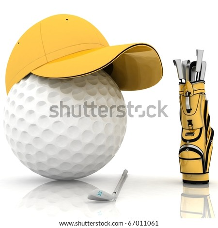 belonging for playing golf on a white background - stock photo