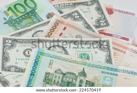 Belorussian currency, euro and 2-dollars bank note - stock photo