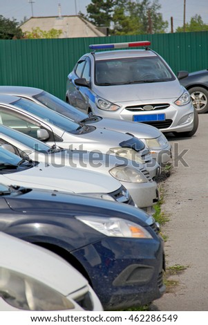 BELOVO, RUSSIA August 2, 2016: Police car is standing on a car parking
