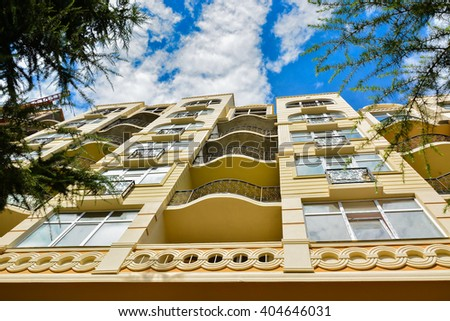 Below view of apartment building - stock photo