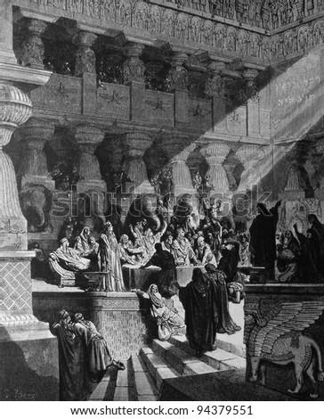Belshazzar's Feast. 1) Le Sainte Bible: Traduction nouvelle selon la Vulgate par Mm. J.-J. Bourasse et P. Janvier. Tours: Alfred Mame et Fils. 2) 1866 3) France 4) Gustave Doré - stock photo