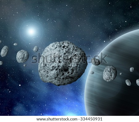 """Belt asteroids in space on a starry background.   """"Elements of this image furnished by NASA"""". - stock photo"""