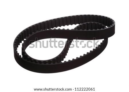 belt car engine isolated white background - stock photo
