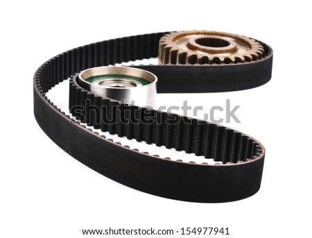 belt car engine isolated white background.Automobile spare part,tension pulley - stock photo