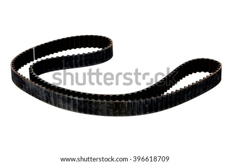 belt car engine timing belt isolated on white background. Automobile spare part - stock photo