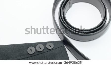 Belt for men.Black suit sleeve and belt on white background. - stock photo