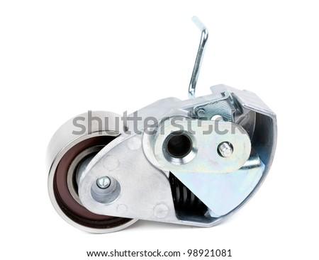 Belt tensioner for V-ribbed belt on a white background - stock photo