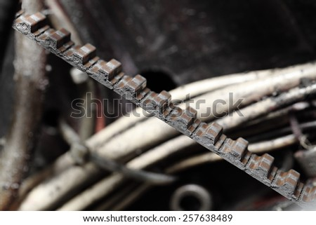Belt transmission in the machine - stock photo